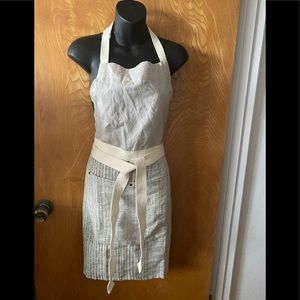 Metallic sparkle and canvas belted apron